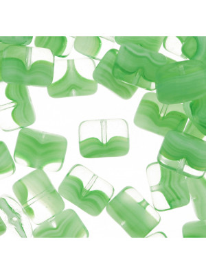 Rettangolo piatto con foro orrizzontale, 8x11 mm., Verde peridot striato in bianco