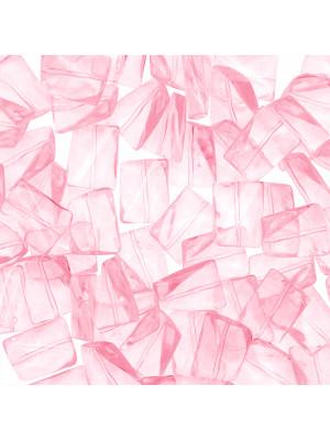 Rettangolo ondulato, 16x12 mm., Rosa baby trasparente