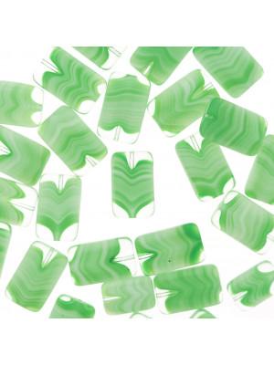 Rettangolo piatto, 15x10 mm., Verde peridot striato in bianco