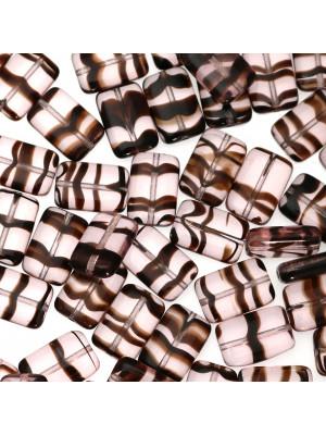 Rettangolo piatto, 15x10 mm., Vinaccia striato in marrone