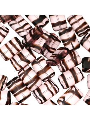Rettangolo piatto, 19x12 mm., Vinaccia striato in marrone