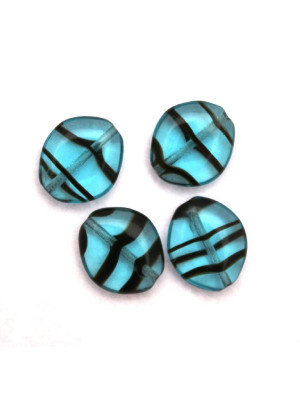 Semino, 10x8 mm., Indicolite striato con marrone