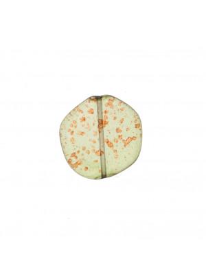 Sasso piatto, 19x19 mm., colore VERDE MACCHIATO IN ROSSO