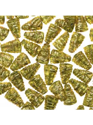 Triangolo, 15x10 mm., Verde oliva con foglia oro zecchino
