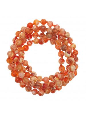 Collana di palline in vetro, effetto pietra dure, diam. 6 mm., colore TONALITA' ARANCIO