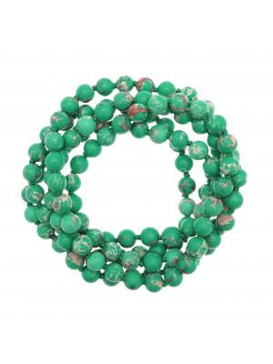 Collana di palline in vetro, effetto pietra dura, diam. 6 mm., colore VERDE ACQUA