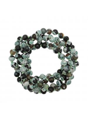 Collana di palline in vetro, effetto pietra dura, diam. 6 mm., colore MARRONE e MENTA