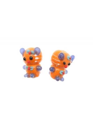 Gattino in vetro colorato, foro passante, 18x14 mm., Arancione con blu