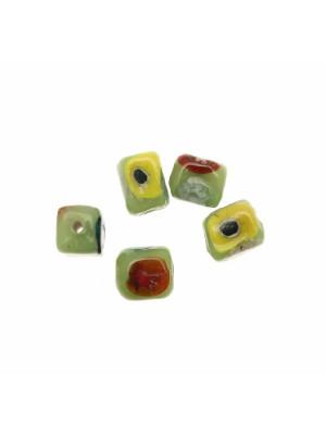 Murrina a forma di cubo, 8/9 mm., colore Verde con disegno fiori