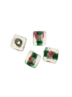 Murrina con foglia argento all'interno, a forma di cubo, 10 mm., con foro passante, colore Verde