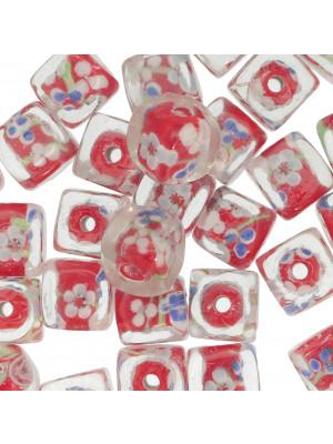 Murrina a forma di cubo , 12 mm., Rosso con trasparente sopra e disegno fiori