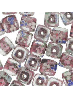 Murrina a forma di cubo , 12 mm., Ametista con trasparente sopra e disegno fiori