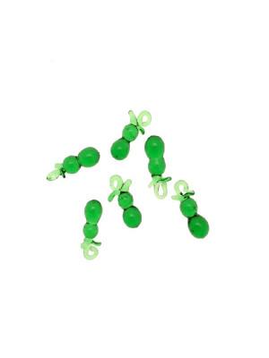 Cetriolo in vetro colorato, con anello in vetro, 6x15 mm., Verde