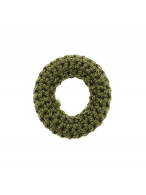Anello in cotone all'uncinetto, 36 mm., Verde Oliva