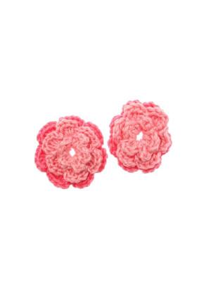 Fiore in cotone all'uncinetto, 36 mm., bicolore, Rosa chiaro + Rosa scuro