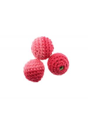 Palla in cotone all'uncinetto, bicolore, Fucsia + Rosa