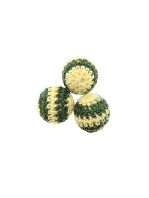 Palla in cotone all'uncinetto, 18 mm., rigate a due colori, Giallo + Verde scuro