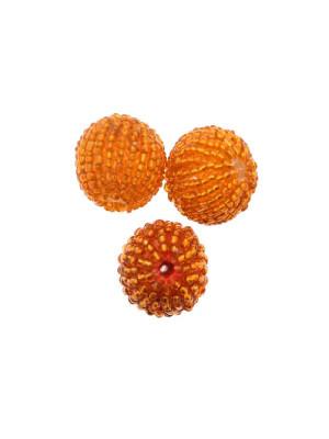 Perla in resina tinta su tono, ricoperta di perline di conteria, Arancione