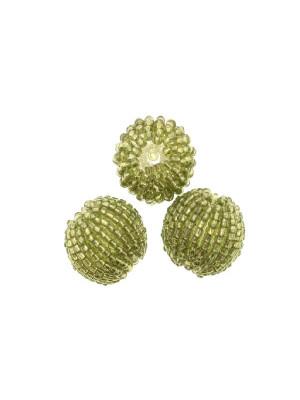 Perla in resina tinta su tono, ricoperta di perline di conteria, Verde oliva chiaro