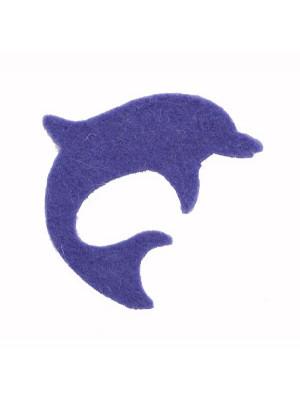 Delfino piatto in feltro, 50x42 mm.