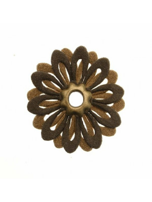 Fiore doppio piatto, 35 mm., in ecopelle, colore Marrone chiaroMarrone