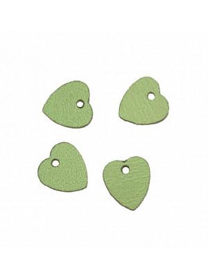 Paiettes a forma di cuore sottilissime con foro in alto, 10 mm., Verde metallizzato