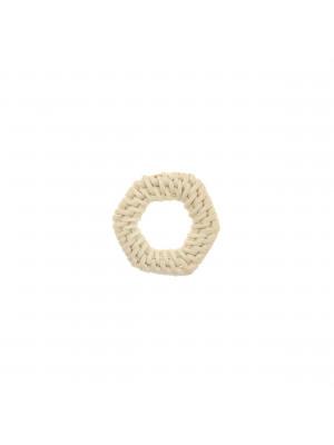 Elemento a forma di esagono forato, con rattan naturale, 35x31 mm., spessore 4 mm. circa
