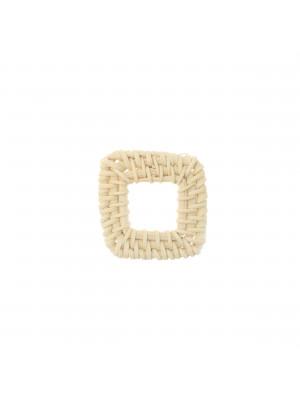 Elemento a forma di quadrato forato, con rattan naturale, 40x40 mm., spessore 4 mm. circa