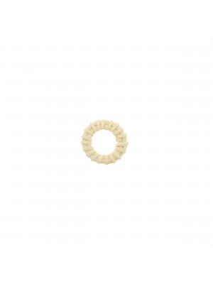 Elemento a forma di tondo forato, con rattan naturale, diametro 26 mm., spessore 4 mm. circa