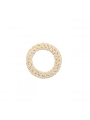 Elemento a forma di tondo forato, con rattan naturale, diametro 38 mm., spessore 4 mm. circa