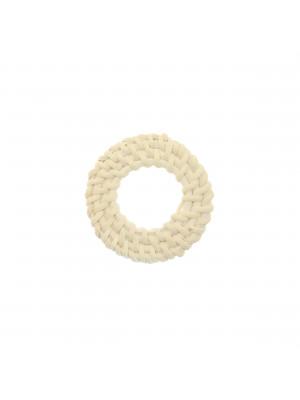 Elemento a forma di tondo forato, con rattan naturale, diametro 44 mm., spessore 5 mm. circa