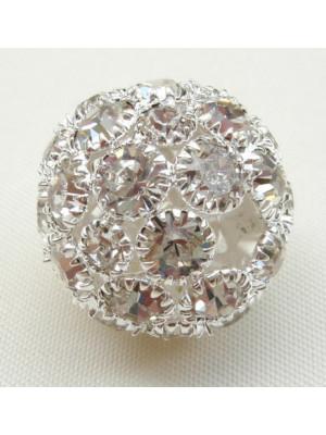 Palla strass gigante con foro largo e strass color Crystal, base Argento chiaro