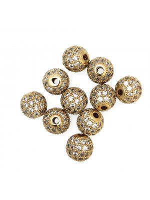 Distanziatore palla con strass piccoli, 8 mm., base Oro Lucido, colore strass CRYSTAL