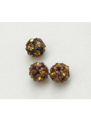 Palla strass, 6 mm., base Rame antico, colore strass Topaz