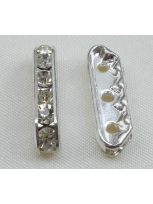 Ponte strass piatto con 3 fori, 21 mm., colore base Argento chiaro