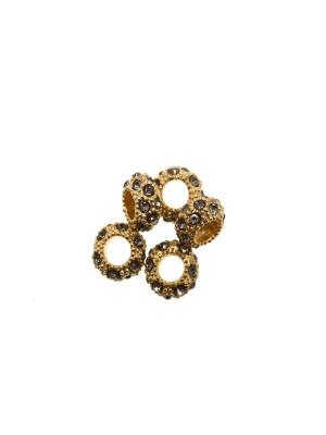 Rondella bombata strass, stretta, in metallo, 10x5,7 mm., base oro lucido, colore strass GRIGIO