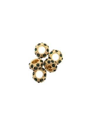 Rondella bombata strass, stretta, in metallo, 10x5,7 mm., base oro lucido, colore strass VERDE SMERALDO