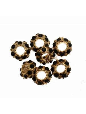 Rondella bombata strass, stretta, in metallo, 6,3x3,3 mm., base oro lucido, colore strass NERO