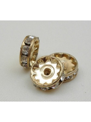 Rondella strass, 8 mm., base Oro
