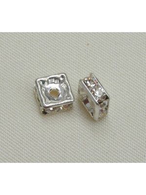Rondella strass quadrata, 6 mm., colore strass Crystal