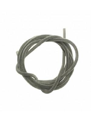 Striscia in caucciù tubolare ricoperta di velluto, lunga 85 cm., diametro 2 mm., colore Grigio chiaro