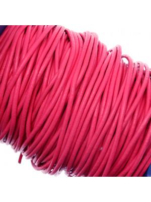 Cordoncino in cuoio colorato, spessore 2 mm., colore Indian Pink
