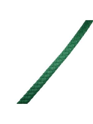 Cordoncino piatto grosso intrecciato in pelle sintetica, largo 10 mm., alto 4,5 mm., colore Verde