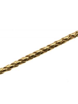 Cordoncino tubolare intrecciato in pelle sintetica, diametro 4 mm., colore Oro