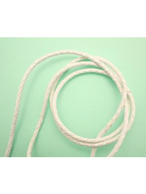 Cordoncino tubolare intrecciato in pelle, diametro 3 mm., colore Bianco