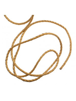 Cordoncino tubolare intrecciato in pelle, diametro 3 mm., colore Oro