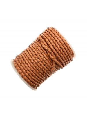 Cordoncino tubolare intrecciato in pelle, diametro 4 mm., colore Sabbia scuro