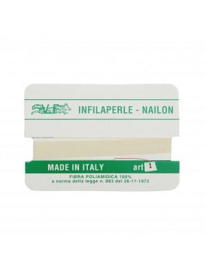Filo infilaperle in nylon con ago compreso colore Avorio, spessore 0,3 mm.