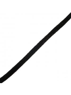 Nastro in lycra tubolare, spessore 5 mm., con cucitura a vista a lato, colore Nero vellutato puntinato