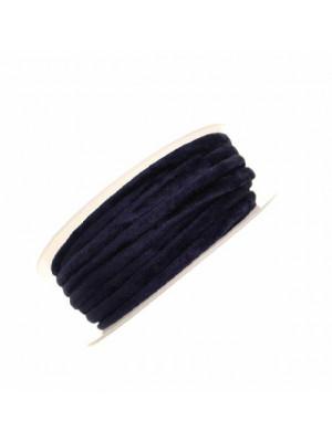 Nastro in lycra tubolare, spessore 5 mm., con cucitura a vista a lato, colore Blu elettrico effetto velluto